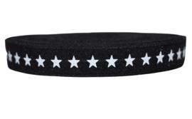 Elastisch band zwart met witte ster 16 mm per 0,5 meter
