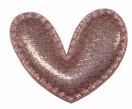 Hart applicatie glimmend roze 43 x 36 mm, per stuk