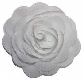 Stoffen bloem 8 cm wit