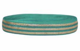 Elastisch band turkoois goud gestreept blad per 0,5 meter