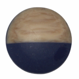 Cabochon hout-look dip kobaltblauw, 20 mm