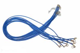 Ketting gewaxt koord koningsblauw 2mm dik, 45-50 cm met sluiting, per stuk