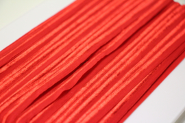 Elastisch paspelband glans/mat rood per 0,5 meter
