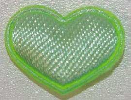 Hart applicatie klein 15x12 mm mintgroen 5 stuks