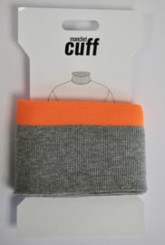 Cuff/ boordje grijs-neon oranje + lurex  135x7 cm