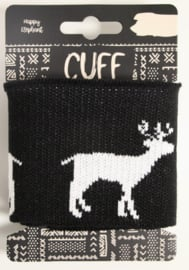Cuff jacquard rendier zwart 7x110 cm