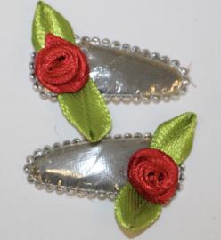 Haarclipjes zilver met rood roosje