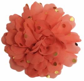 Stoffen bloem 10 cm zalmroze met gouden stipjes