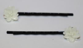 Schuifspeldjes zwart, witte bloem