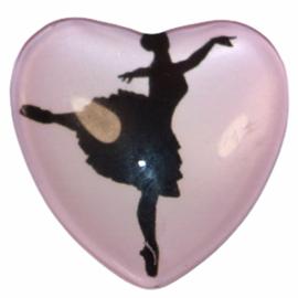 Hart glascabochon danseres 25 mm