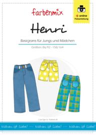 Farbenmix papier patroon basisjeans voor jongens en meisjes Henri  86/92 -170/176