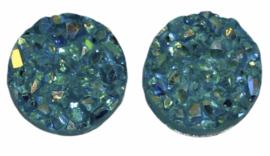 Flatback rondjes shiny aquablauw 10 mm, per paar