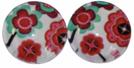 Glas flatback cabochon 12mm rood-mint bloemetjes per 2 stuks