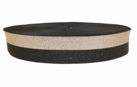 Elastiek lurex duo zwart/champagne 40 mm per 0,5 meter