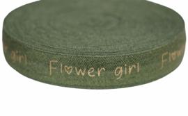 Elastisch band groen flower girl gouden tekst 16 mm per 0,5 meter