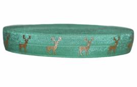Elastische  biaisband groen met gouden hert 16 mm per 0,5 meter