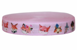 Elastisch band roze met diertjes per 0,5 meter