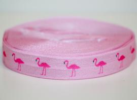 Elastisch band zachtroze met flamingo 16 mm per 0,5 meter