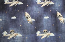 Katoen: jeanskleur met raket/vliegtuig  (stenzo) per 25cm
