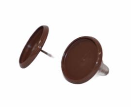 Donkerbruine oorbellen 14 x 14mm met cabochon setting 12mm per paar.
