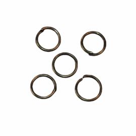 Ringetjes 6mm met opening bronskleur,  per 5 stuks