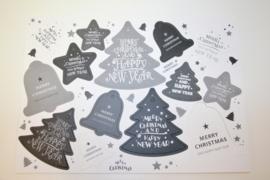 14 kerst labels grijs wit antraciet
