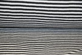 Zwart-witte streep boordstof. Rondgebreid 36cm. Per 25 cm
