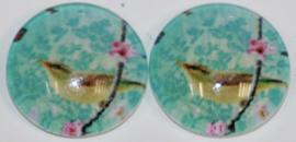 Glas flatback cabochon 12 mm vogel op tak, 2 stuks