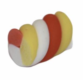 Flatback snoepje geel/wit/rood+/- 15 x 11mm