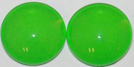 Glas flatback cabochon 12 mm heldergroen per 2 stuks