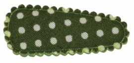 kniphoesje katoen mosgroen met witte stip 3 cm