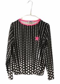 Shirt zwart wit gestipt met roze ster maat 128