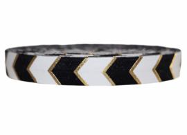 Elastisch band zwart/wit/goud pijltjes per 0,5 meter
