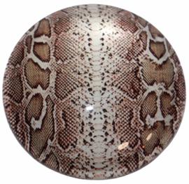 Glas cabochon 25mm: slangenprint