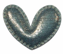 Hart applicatie glimmend blauw 43 x 36 mm, per stuk