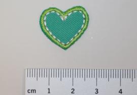 Applicatie klein hart groen-blauw