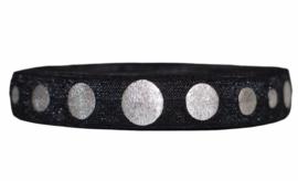 Elastisch band zwart met zilveren stippen 16 mm per 0,5 meter