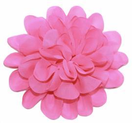Stoffen bloem 10 cm knalroze
