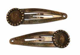 Klik-klak haarspeldje brons met randje 5,5 cm met 12 mm cabochon setting, per stuk