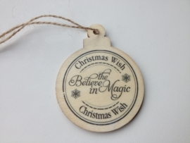 houten hanger 50x65 mm christmas wish