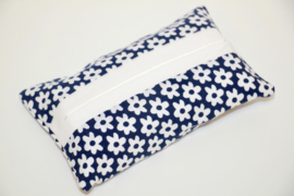 Zakdoekhoesje blauw wit gebloemd