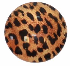 Glas cabochon 25mm: panter bruin/zwart