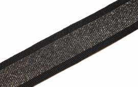 'Broek' streep: lurex- zwart-zilver gebreid band +/- 30mm, per 0,5 meter