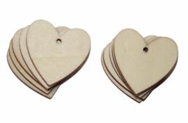 Hartjes label hout, per 10 stuks