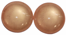 Glas flatback cabochon 12mm perzik per 2 stuks