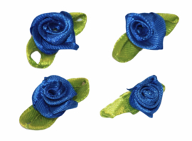 Roosjes met blad 25x15 mm kobaltblauw per 4 stuks
