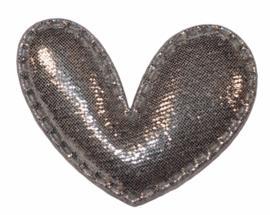 Hart applicatie glimmend donker zilver 43 x 36 mm, per stuk