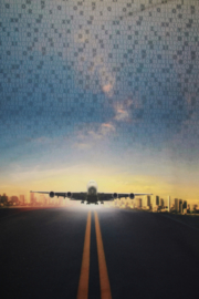 Panel digitale French terry tricot: vliegtuig/vliegveld  75x150 cm Stenzo