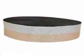 Elastiek lurex duo zilver/champagne 40 mm per 0,5 meter