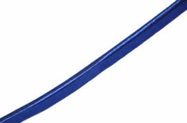 Elastisch paspelband glans/mat cobalt, per 0,5 meter